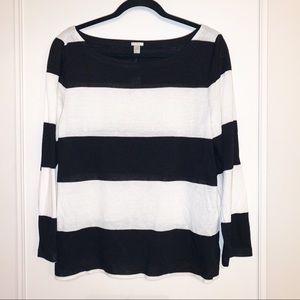J. Crew Large Black & White 3/4 Striped Sweater